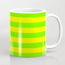 Super Bright Neon Yellow and Green Horizontal Beach Hut Stripes Coffee Mug