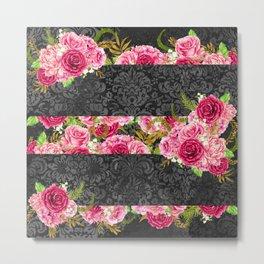 Pink Roses Pattern 10 Metal Print