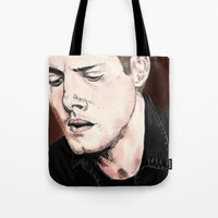 dean winchester Tote Bags featuring Dean Winchester by Brandi