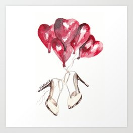 Wedding shoes from red hearts Art Print