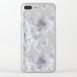 Watercolor lilac violet green abstract brushstrokes Clear iPhone Case