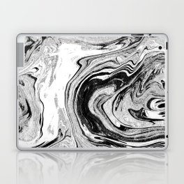 Masuki - black and white minimal spilled ink marbled paper marble texture marbling marble painting Laptop & iPad Skin