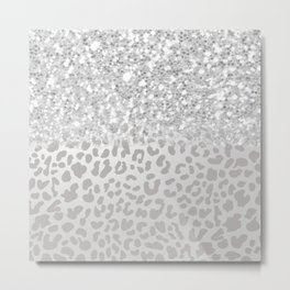 Sparkly Silver Leopard Print Metal Print