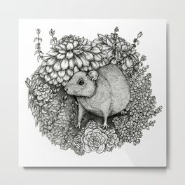 Rat, Succulents Metal Print