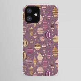 Purple Christmas Bauble Ornaments Pattern iPhone Case