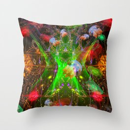 Bioluminescent Plankton and Jellyfish Throw Pillow