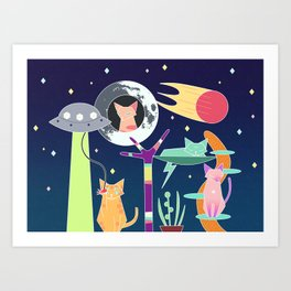 Alien Cat Tower Art Print