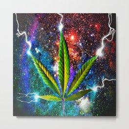 Weed Leaf in Space Metal Print