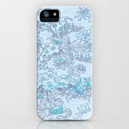 "Alphonse Mucha ""Anemones, Apple Blossoms and Narcissi"" (edited blue) iPhone Case"