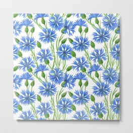 Watercolor cornflower pattern Metal Print