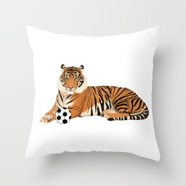 Soccer Tiger Throw Pillow
