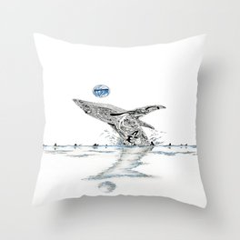 Blue Whale Surf Lineup Throw Pillow