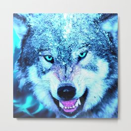 Blue wolf face Metal Print