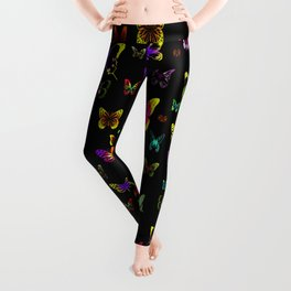 Numerous colorful butterflies on a neutral background Leggings