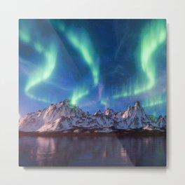 Aurora Borealis with Snow Metal Print
