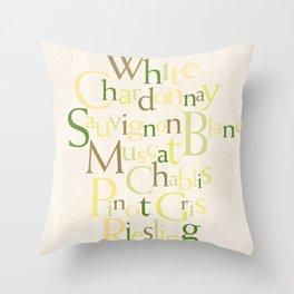 white wine words Throw Pillow
