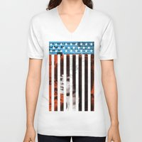 political V-neck T-shirts featuring Angela Davis Political Prisoner by Robert John Paterson