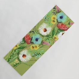 Green Floral Yoga Mat