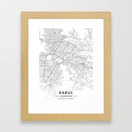 Kabul, Afghanistan - Light Map Framed Art Print