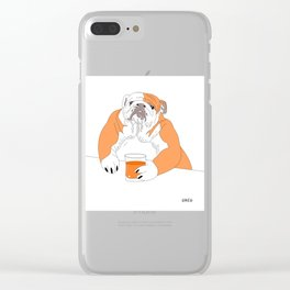 dog drink whisky Clear iPhone Case