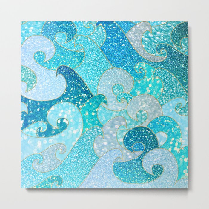 Mermaid Waves And Sea Faux Glitter- Sun Light Over The Ocean Metal Print