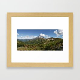Picturesque summer panorama of volcanic landscape in Kamchatka Peninsula Framed Art Print