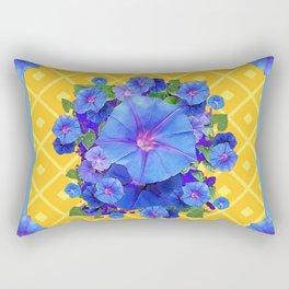 Blue Morning Glories & Gold  Patterns Art Rectangular Pillow