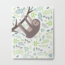 Happy Sloth with Leaves Illsutration Metal Print