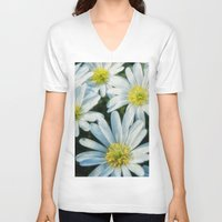 daisies V-neck T-shirts featuring daisies by Barbro Paulsson
