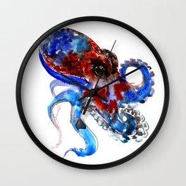 Octopus - blue red octopus artwork Wall Clock