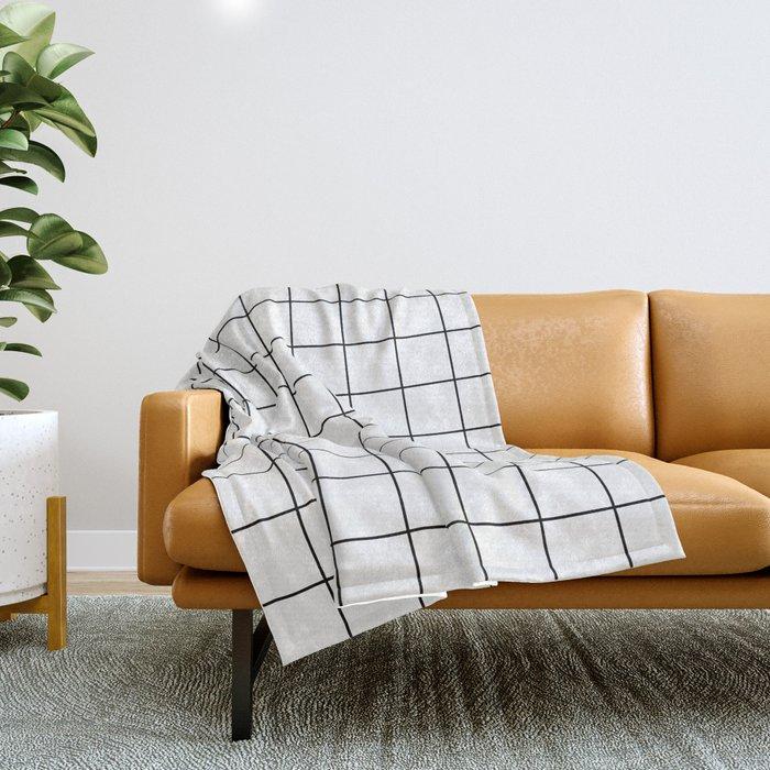 Grid Simple Line White Minimalist Throw Blanket