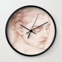 Portrait Study Drawing Victorian Lady Wall Clock
