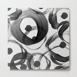Trendy white black watercolor brushstrokes dots  Metal Print