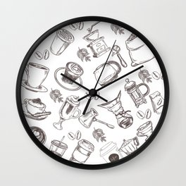 Coffee Pattern Wall Clock