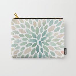 Floral Bloom, Abstract Watercolor, Coral, Peach, Green, Floral Prints Carry-All Pouch