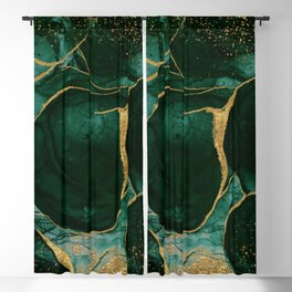 Gold and Emerald Marble I Blackout Curtain