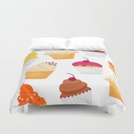 Dulce y sabrosa comida postre cupcake patrón transparente ilustración vectorial Duvet Cover