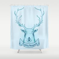 potter Shower Curtains featuring Expecto Patronum- Harry Potter by Manfred Maroto