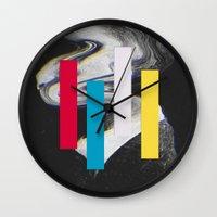 glitch Wall Clocks featuring Glitch by Mrs Araneae