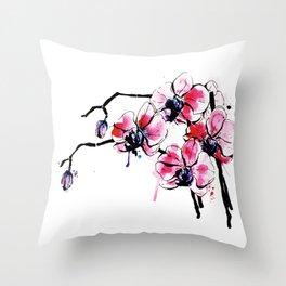 watercolour iris Throw Pillow