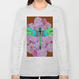 EMERALD DRAGONFLY PINK ROSES COFFEE BROWN Long Sleeve T-shirt