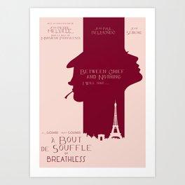 Breathless (À bout de souffle) minimal movie poster, Jean-Luc Godard, classic french film, new wave Art Print