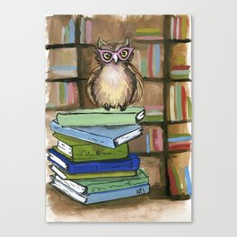 Owl the Librarian Canvas Print