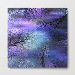 Black Trees Purple Blue Abstract Sky Metal Print