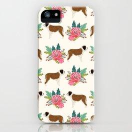 Saint Bernard florals dog breed floral bouquet dog pattern minimal pet friendly iPhone Case