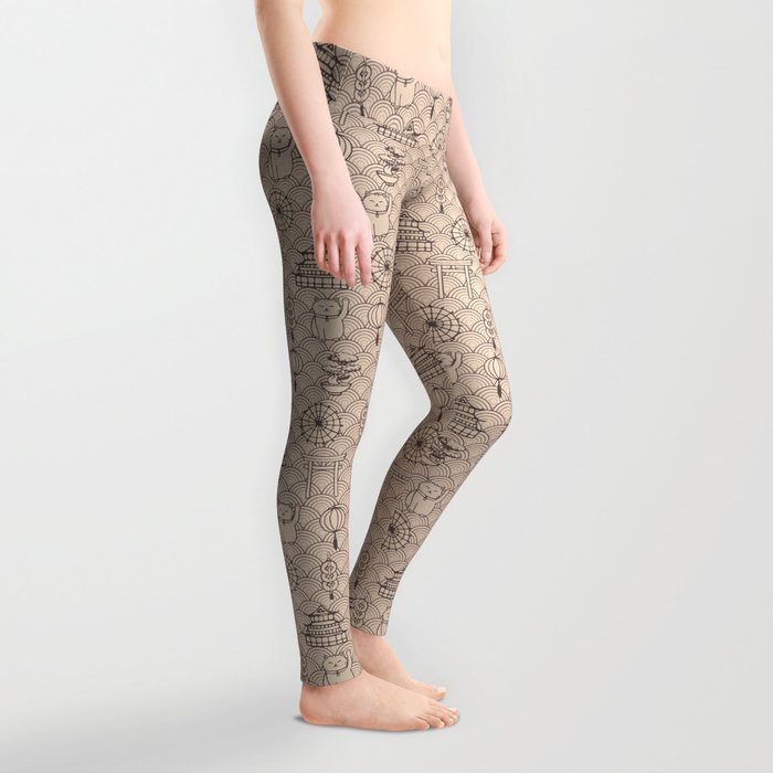 Retro asian pattern Leggings