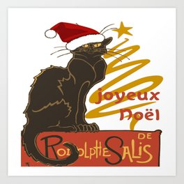Joyeux Noel Le Chat Noir With Stylized Golden Tree Art Print