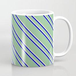 Dark Sea Green, Pale Goldenrod, and Blue Colored Striped Pattern Coffee Mug