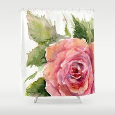 Red Rose Watercolor Pink Rose Flower Floral Art Shower Curtain