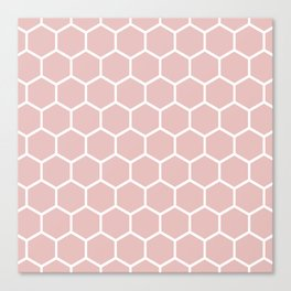 White and neutral beige honeycomb pattern Canvas Print